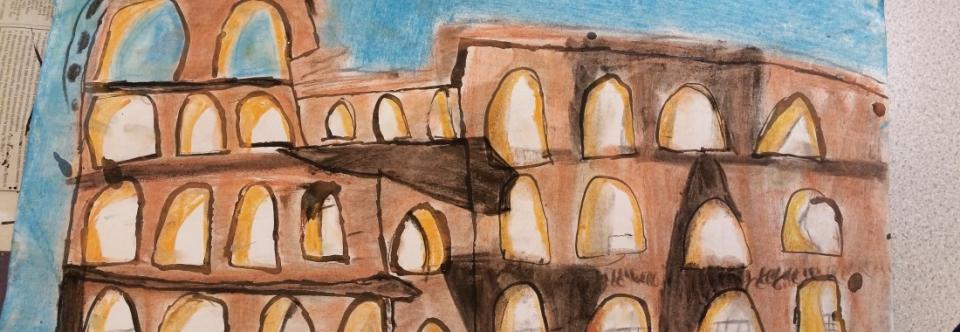 Ancient Greek Art Ink Pastel Hedon Primary School